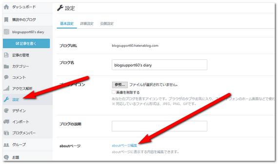 アバウトページの管理画面
