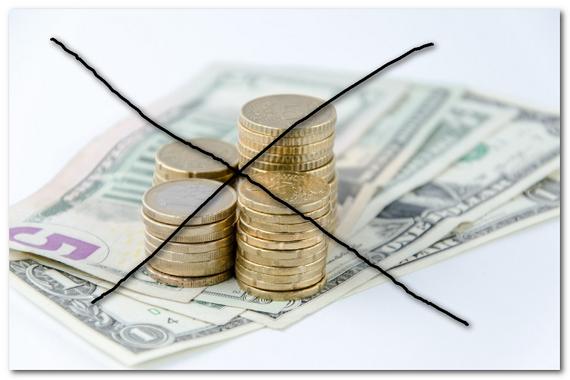 お金にバツ印が表示されている画像