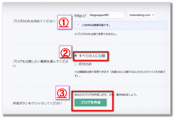 かんたんブログ作成の登録フォームのキャプチャ画像