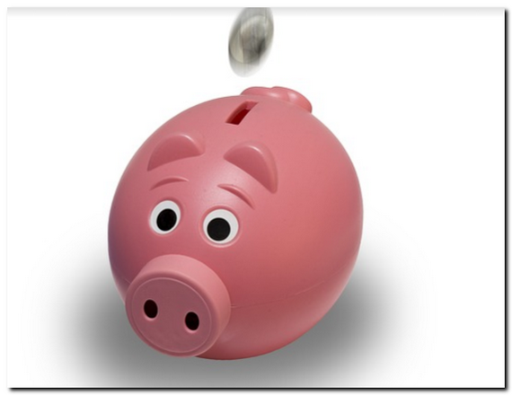 ピンクのぶたの貯金箱