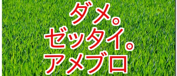 緑の芝生に赤い文字のせ