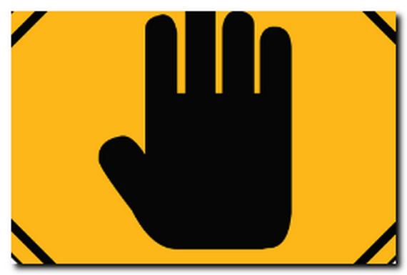手の黄色い看板