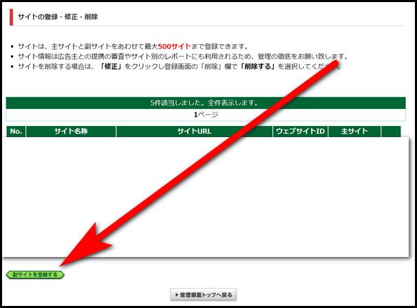 サイト情報の登録画面